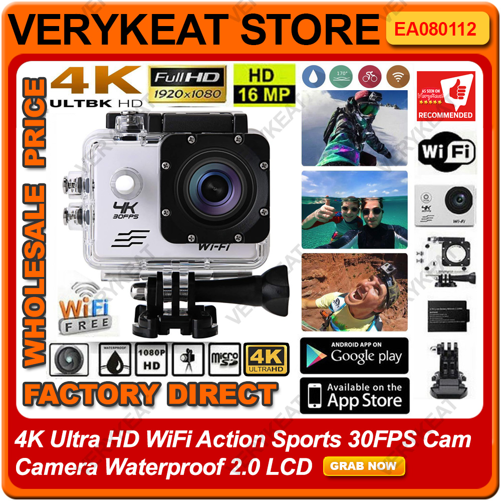 4K Ultra HD WiFi Action Sports 30FPS Cam Camera Waterproof 2 0 LCD