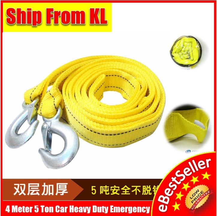 4M 4 Meter 5 Ton Tow Rope Hooks Heavy Duty Car Vehicle Strap Emergency