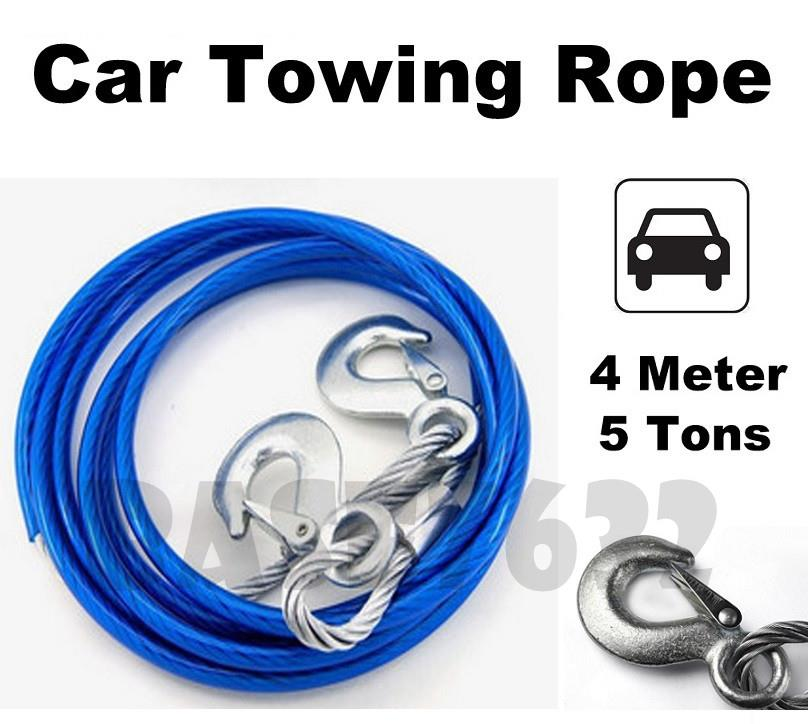 4m  5 Ton Car Tow Towing Pulling Pull Steel Metal Wire Rope Strap Hook