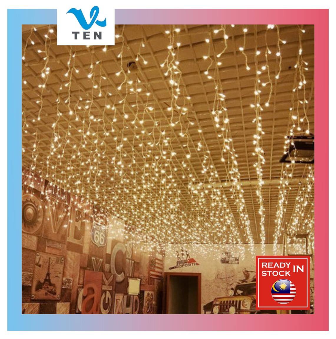 4M Each Drop 0.6M 120Leds LED Curtain Icicle String Light Party Fairy