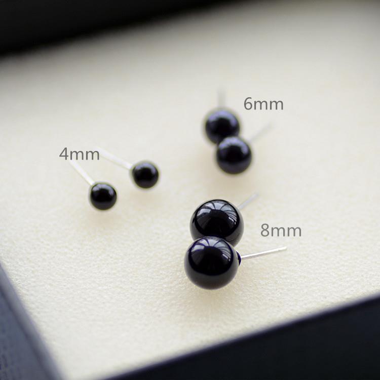 4mm Stud Earrings For Men Black Round Post Mens Jewelry