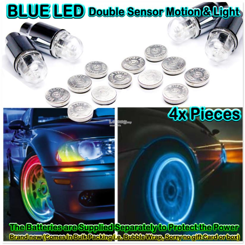 4Pcs BLUE Flashing LED Light Tyre Tire Valve Wheel Flys Double Sensors