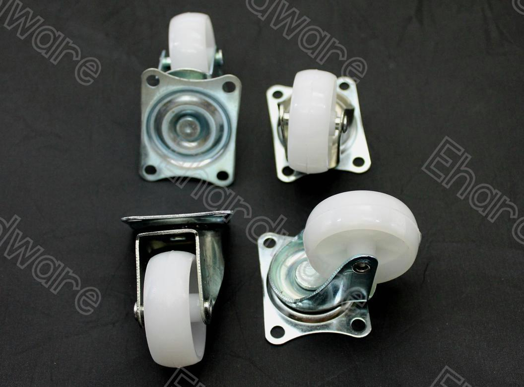 4Pcs Flat Plate Swivel Nylon Caster Wheel Set 45mm (NCW-45S)
