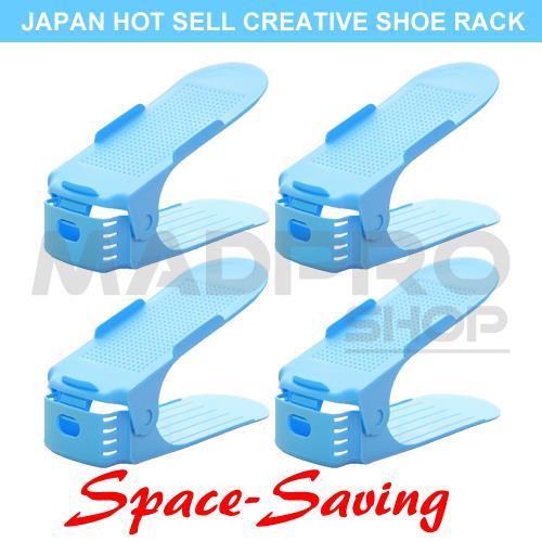 4pcs Korea Adjustable Shoes Organizer Space Saving Storage Shoe Rack