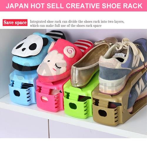 4pcs Korea Adjustable Shoes Organizer Space Saving Storage Shoe Rack