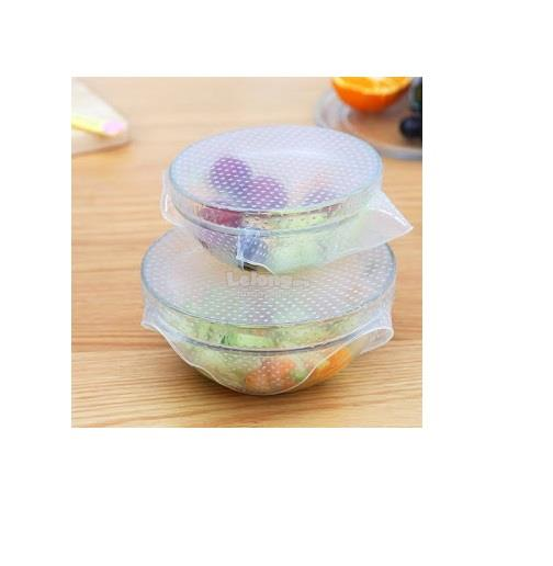 4Pcs Multi-functional Clear Reusable Silicone Food Wraps Seal Vacuum C