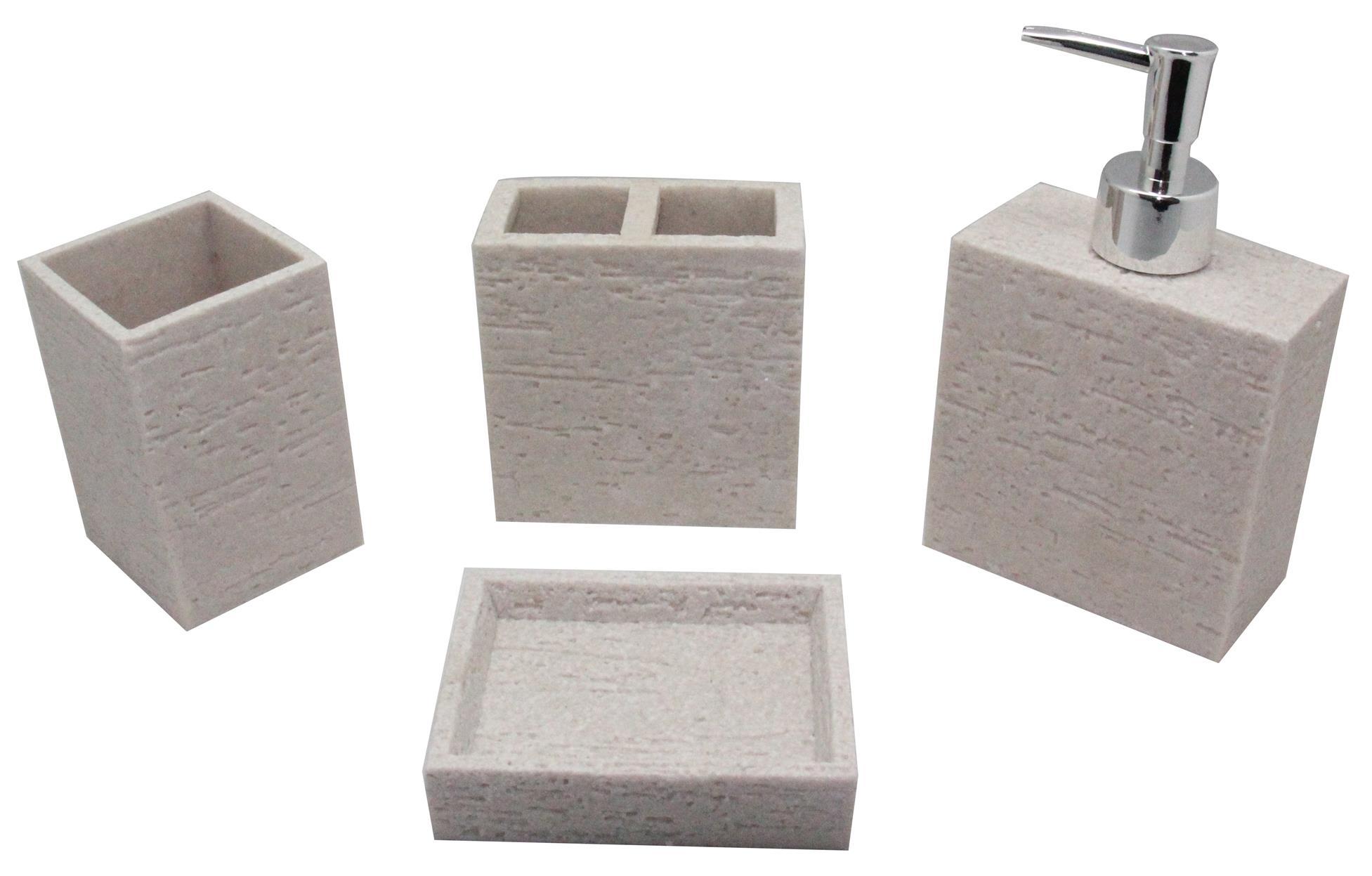 4pcs resin bathroom accessories set shampoo dispenser soap holder