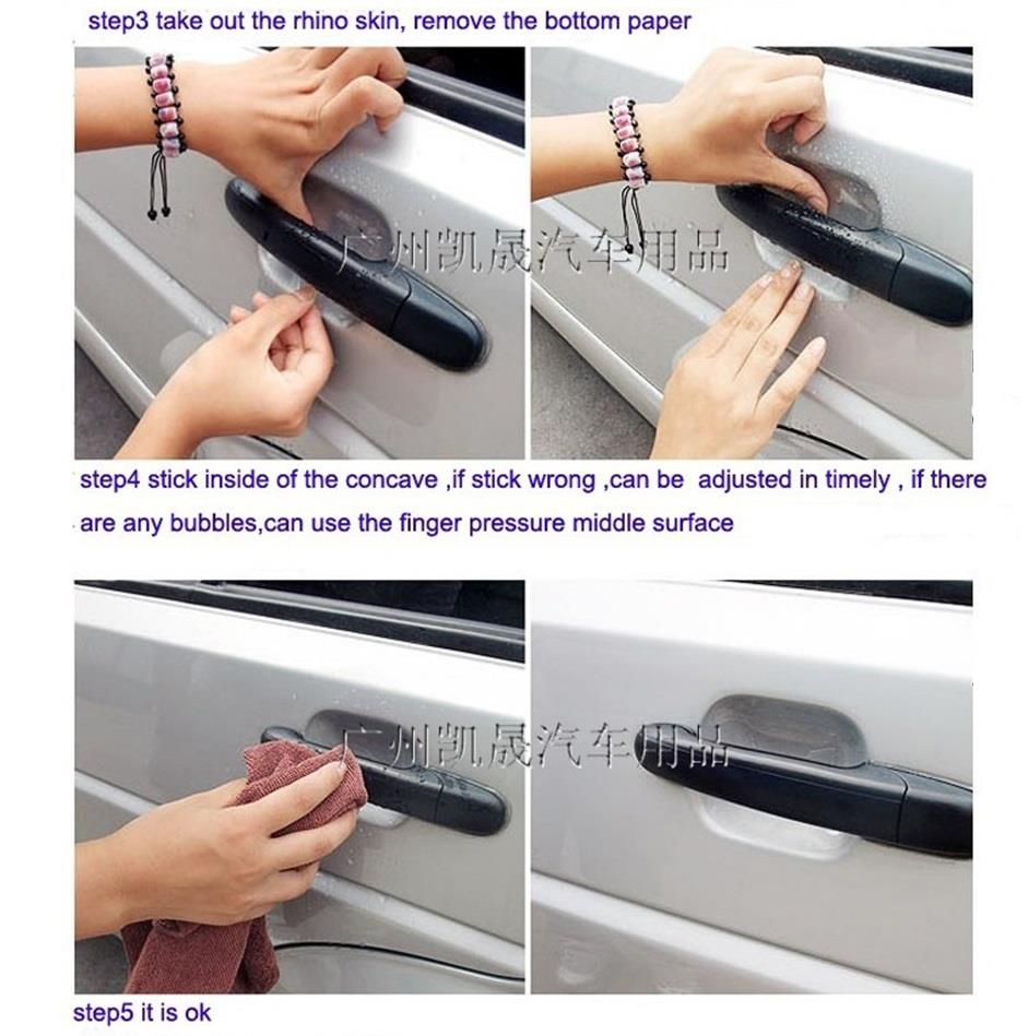 4pcs/set Car Door Handle Scratch Guard Protector Sticker