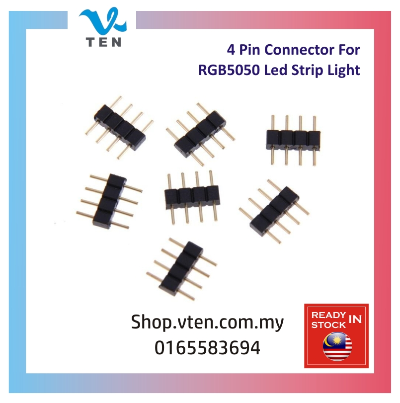 4Pin 8mm Connector Needle Male Type For 5050 2835 RGB LED Strip