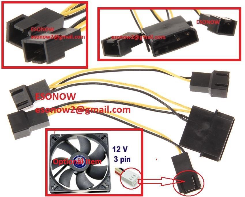 4pin molex male to 4x 12v 3pin male computer case fan power splitter esonow 1702 26 ESONOW@14 4pin molex male to 4x 12v 3pin male c (end 1 5 2020 1 15 pm)