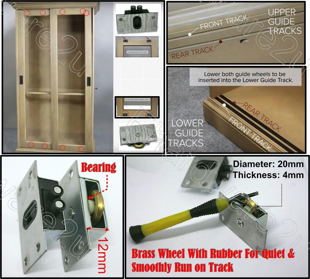 4Set 8Pcs Heavy Duty Cabinet Sliding Door Brass Roller Set (CBR338SS)