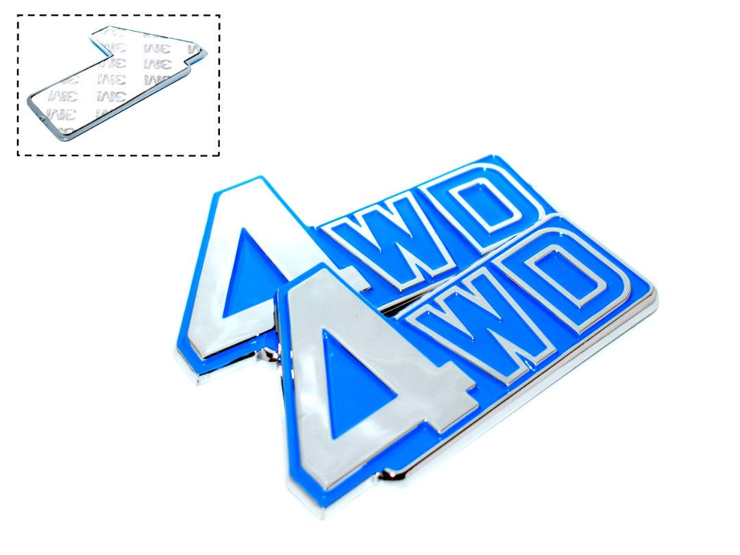 [ 4Wd Blue Chrome Badge Emblem Logo Fender Chromed 3D Car