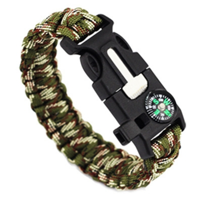 5 In 1 Outdoor Survival Gear Escape Bracelet Flint Whistle Compass Scr..