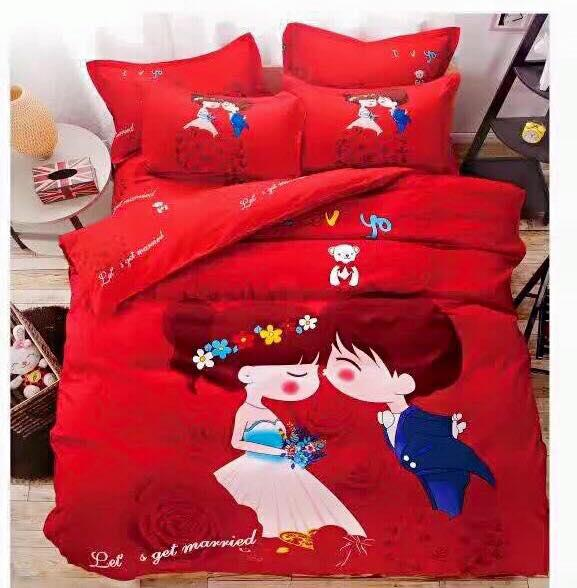 5 In 1 Sweet Couple Wedding Fitted Bed Bedding Set Queen King Size. U2039 U203a