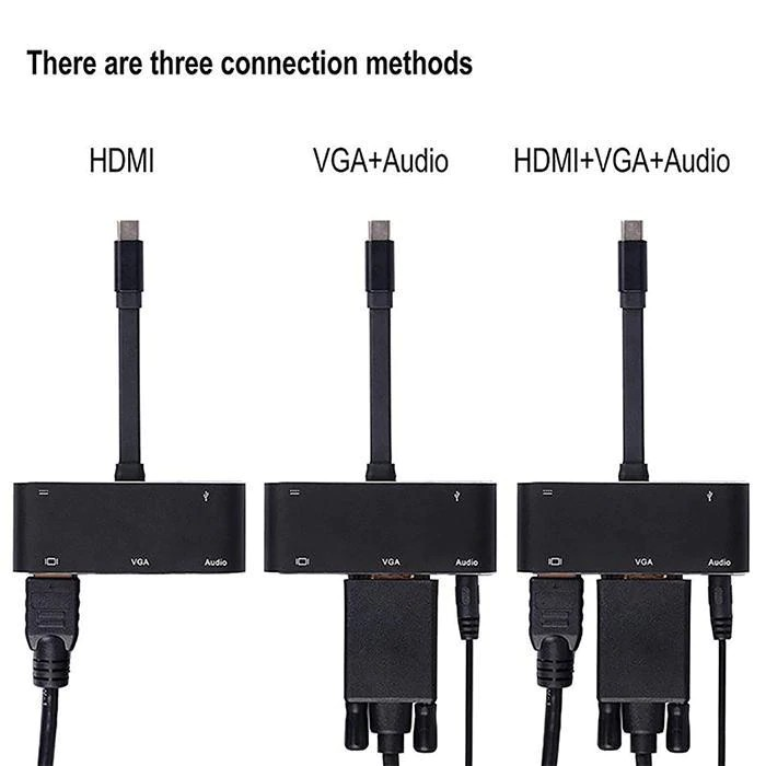 5 In 1 Type-c USB-c To HDMI/VGA/audio/USB3.0/pd Adapter For  - [BLACK]