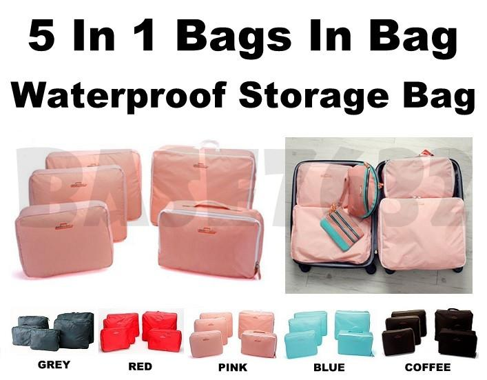 5 In 1  Waterproof Travel Luggage Storage Organizer Mesh Bags In Bag