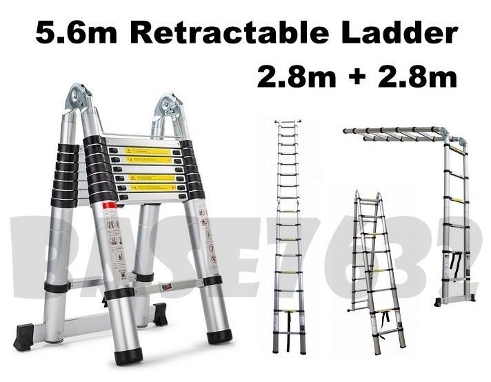 5.6m  8x2 Foldable Telescopic Retractable Aluminium Ladder 2.8m+2.8m