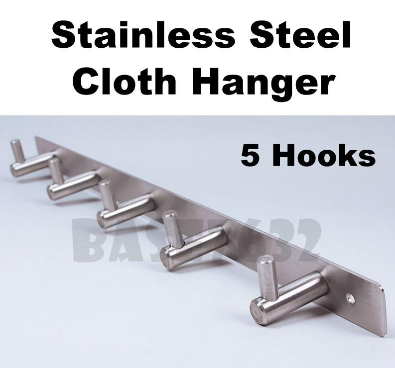 5 Hooks  Stainless Steel Bathroom Toilet Cloth Hook Wall Mount Hanger