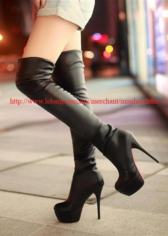 5 Inch 13.5cm High Heel Thigh Boots Black Size 39