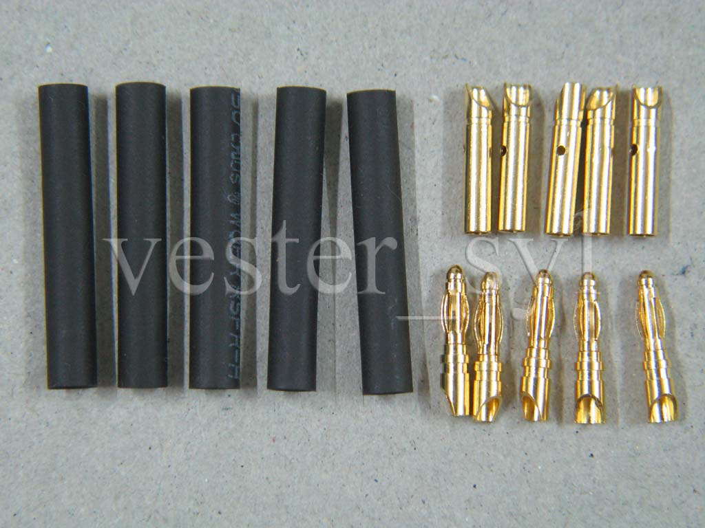 5 pairs (5pcs Male & 5pcs Female) 2mm Gold Plated Banana Connectors