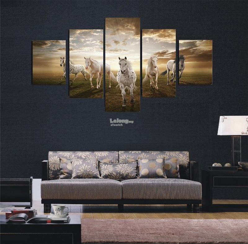 5 Panel NO Frame Art Pictures Running Horse Large HD Modern Home Wall