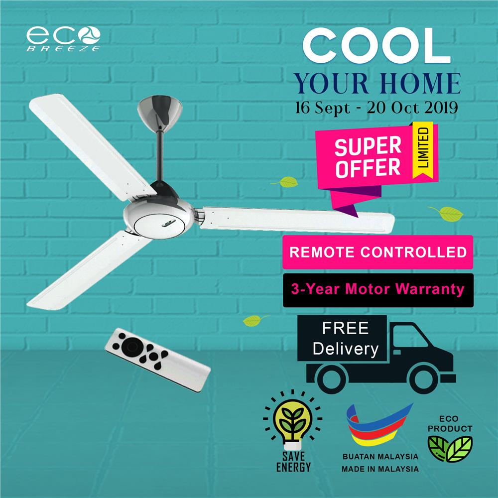 5 Star DC Ceiling Fan With Remote Control EB6018 (White)