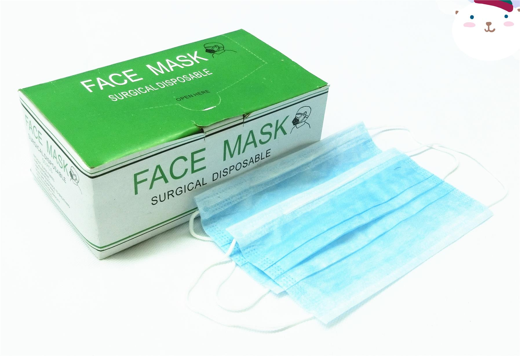 50 pcs -Disposable white Face Mask with Earloop 3 PLY