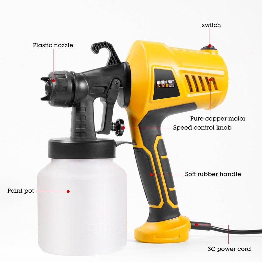 500w Electric Handheld Spray Gun Paint Sprayers High Power Home Electr