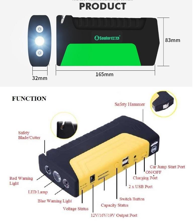 50800mAh Emergency Car Jumper Battery Jump Start Jumper Power Bank