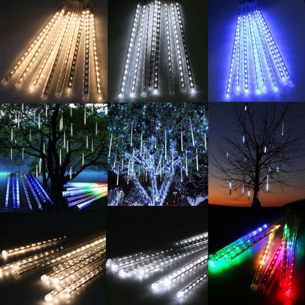 50cm 240LED Light Meteor Shower Rain 8 Tube Tree Garden Lighting raya