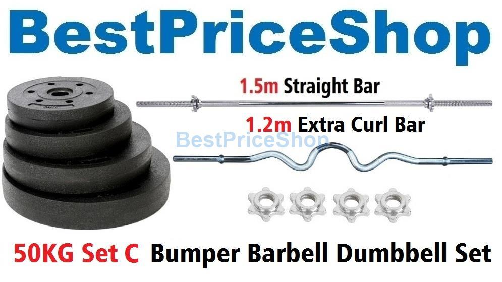 50kg Set C Top Grade Bumper Barbell Dumbbell Weightlifting Bar Gym