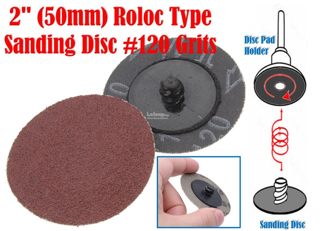 50mm 2 Roloc Type Sanding Disc 120Grits 10Pcs RLSD50