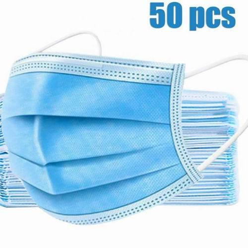 50pcs Blue Disposable Face Mask 3ply Face Mask Disposable Protective