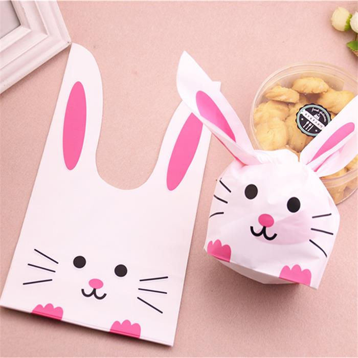 50pcs Cute Cartoon Long Ear Cookie Candy Plastic Party Gift Bag Large