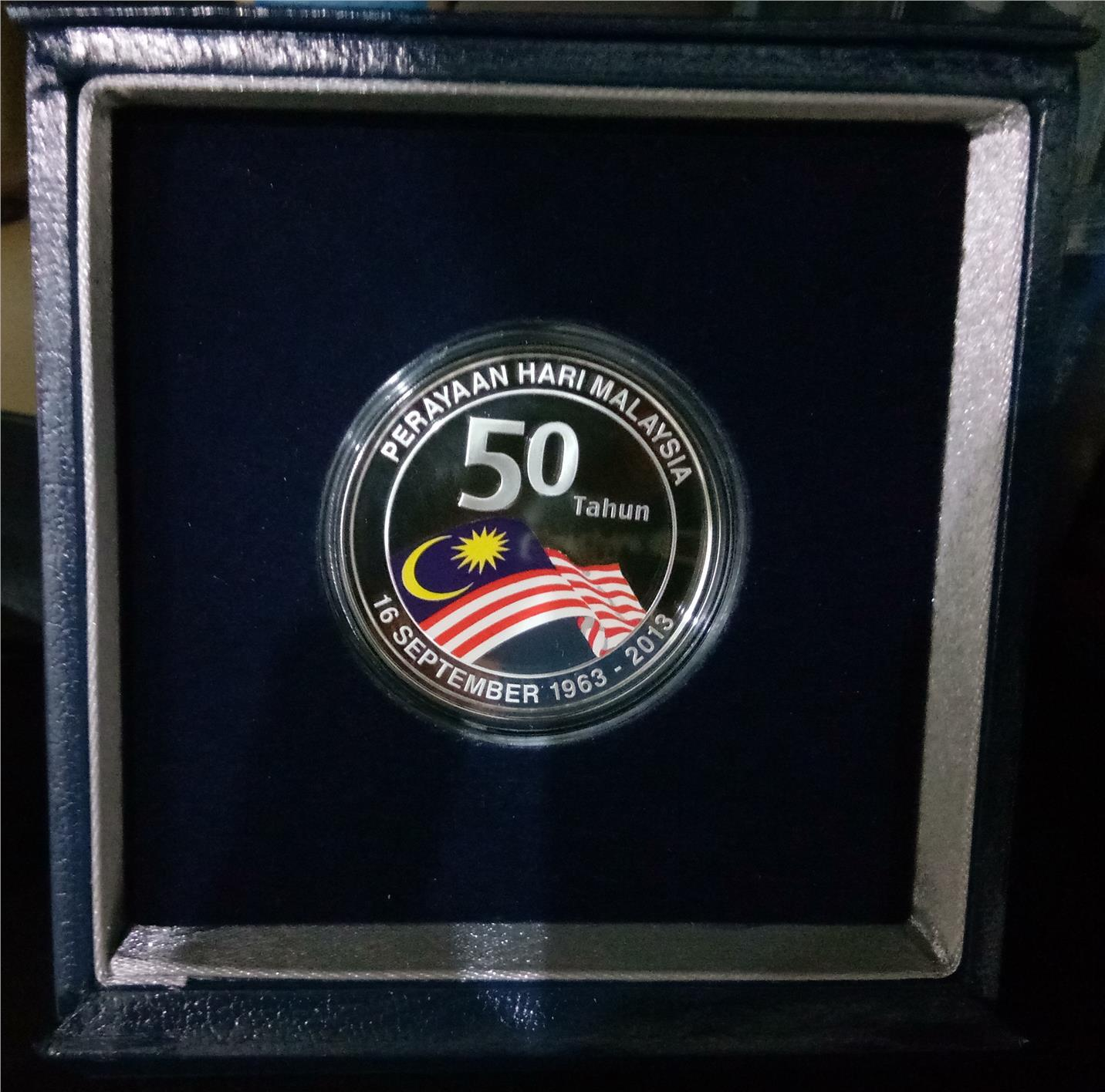 50th Anniversary Malaysia Day, Silver Proof 10 Ringgit RM10 Coin 2013
