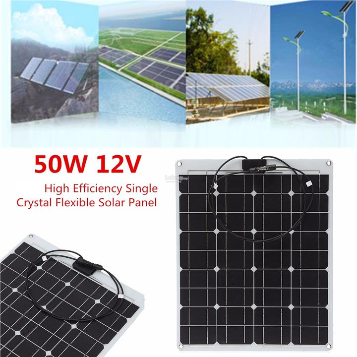 50W 12V 80*40cm Semi Flexible Solar Panel + Cable For Home Car Boat