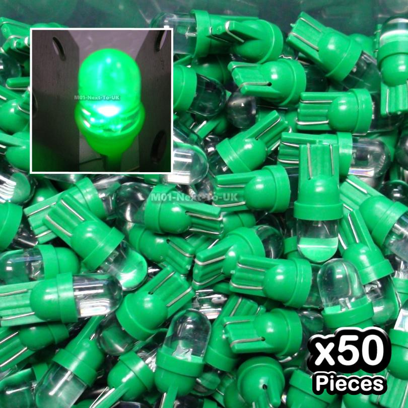 50x GREEN T10 LED Light Bulb Wedge Lamp Convex Top Round W5W 501 158 1