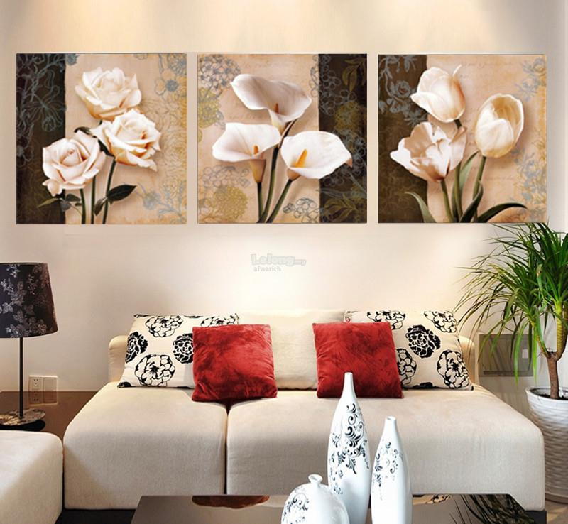 50x50cm 3 Piece Brown Orchid Modern Wall Painting Pictures On Canvas N
