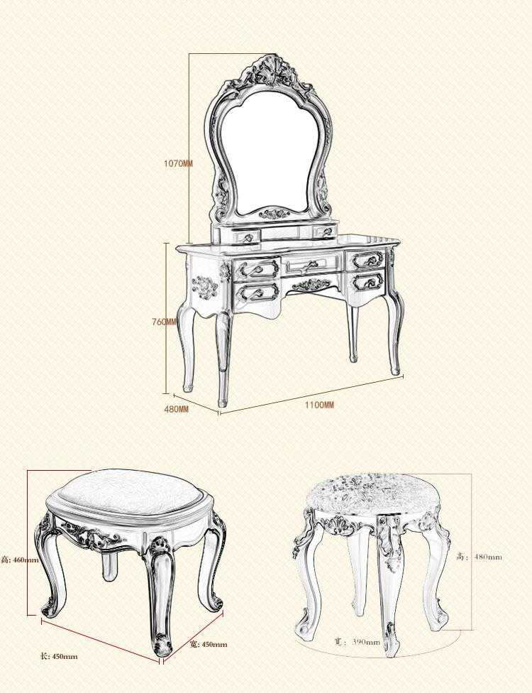528036135799 Dressing table, makeup mirror, stool