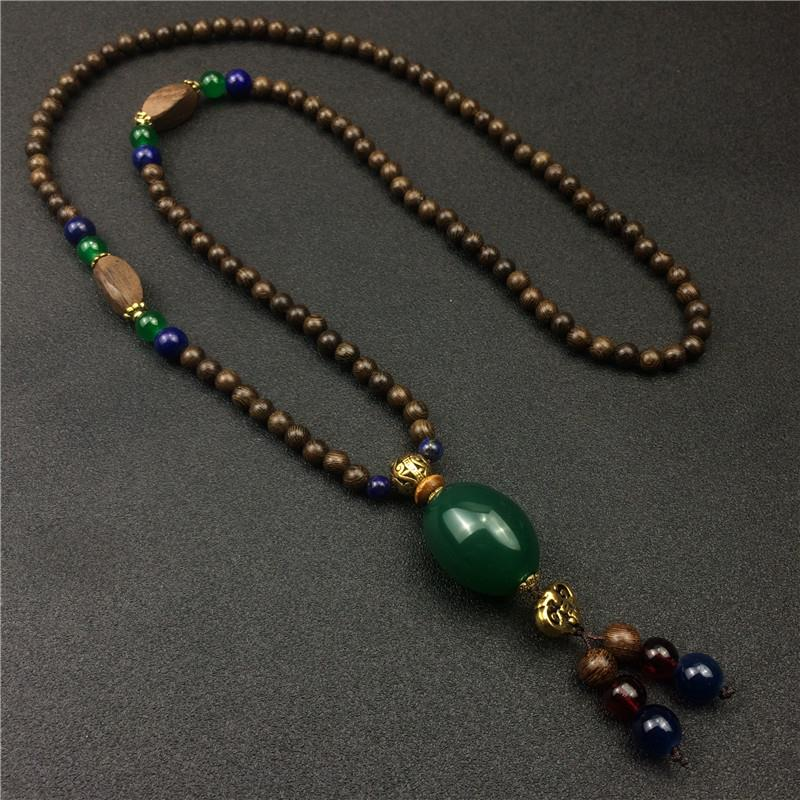 532225337183	Retro ethnic wooden beads long necklace ladies agate pend