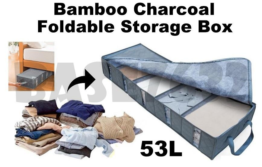 53L  Bamboo Charcoal Foldable Window Long Storage Organizer Box 1585.1