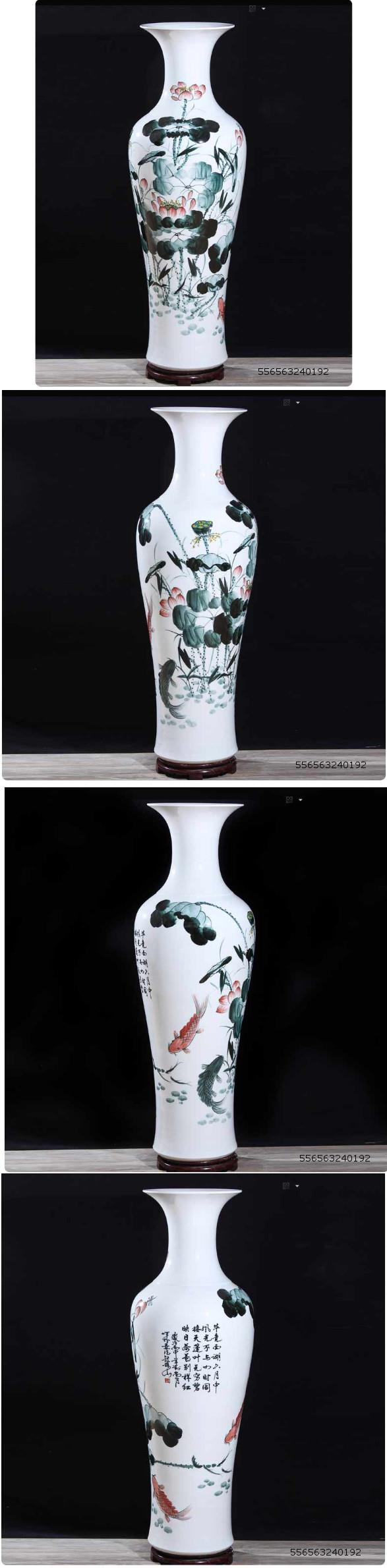 556563240192 1meter tall ink lotus ceramic vase