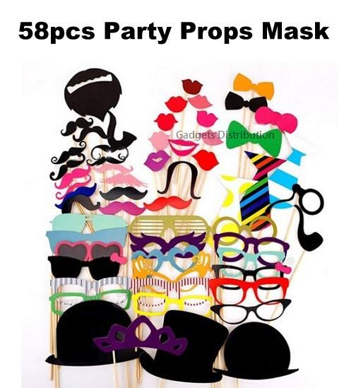 58pcs Wedding Birthday Shooting Photo Booth Props Mask Stick 2637.1