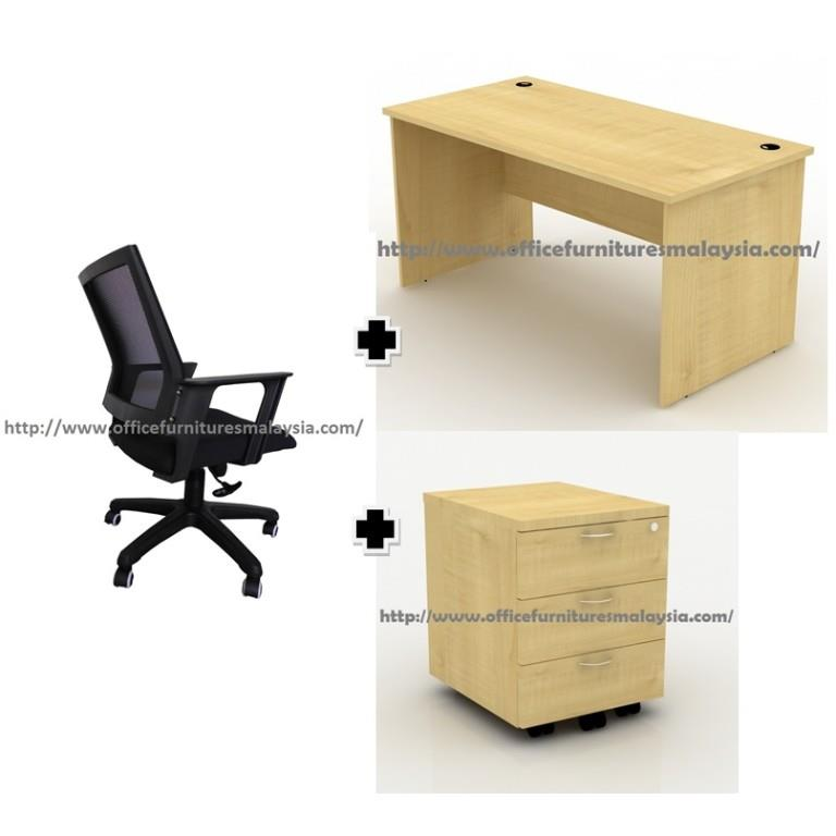5ft Office Desk Full Maple With Drawer And Chair Set Oftf1570 Ampang