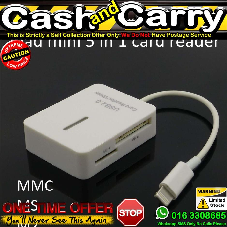 5in1 Connection Kit Lightning Card Reader Adapter ipad 4 mini TF SDHC