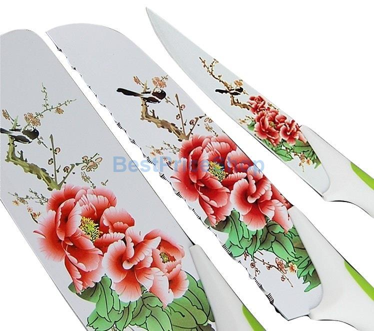 5in1 NonStick Coating Print Kitchen Knife Maifan Knives Gift Set R3 R4