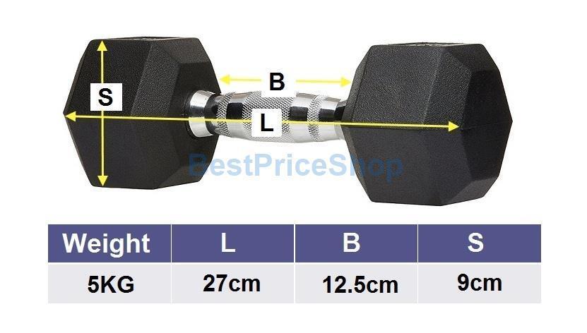 5kg Premium Rubber Coated Iron Hexagon Dumbbell Chrome Bar Fitness Gym