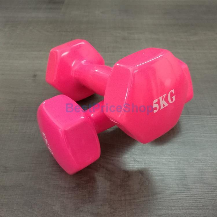 5kg Vinyl Color Rubber Dumbbells Hexagon Weight Lifting Gym Aerobic