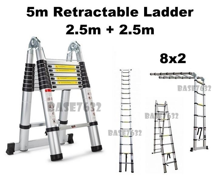 5m 8x2  Foldable Telescopic Extension Retractable Ladder 2.5m+2.5m