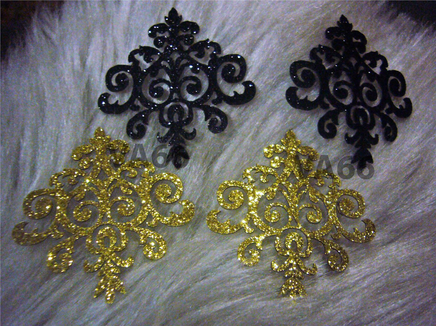 5p Glitter Gold Black Iron On Patch Applique Dokoh Lace Motif Decal
